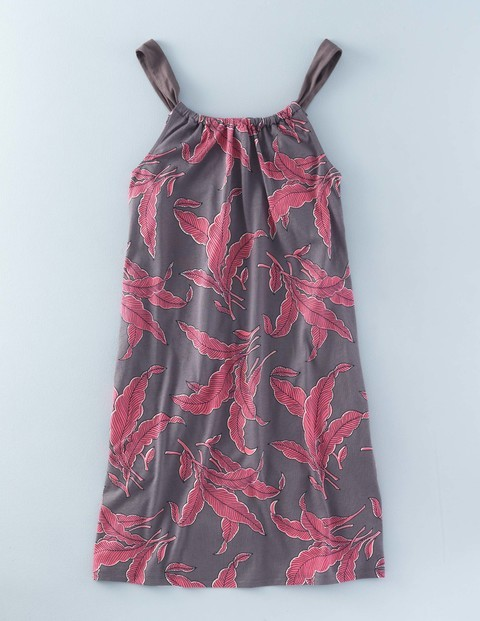 Gathered Neck Tunic Dress Pewter Tropical Leaves Women, Pewter Tropical Leaves - length: mini; neckline: round neck; sleeve style: sleeveless; style: sundress; secondary colour: hot pink; predominant colour: charcoal; occasions: casual; fit: body skimming; fibres: cotton - mix; sleeve length: sleeveless; pattern type: fabric; pattern: florals; texture group: jersey - stretchy/drapey; multicoloured: multicoloured; season: s/s 2016; wardrobe: highlight