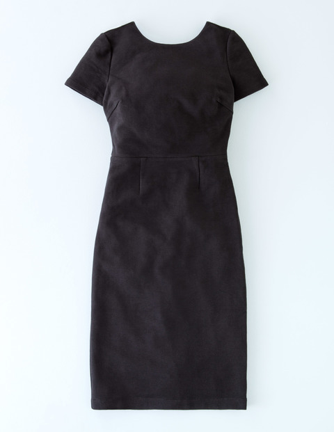 Elsa Ottoman Dress Black Women, Black - style: shift; fit: tailored/fitted; pattern: plain; predominant colour: black; occasions: evening; length: on the knee; fibres: cotton - stretch; neckline: crew; sleeve length: short sleeve; sleeve style: standard; pattern type: fabric; texture group: jersey - stretchy/drapey; season: s/s 2016; wardrobe: event