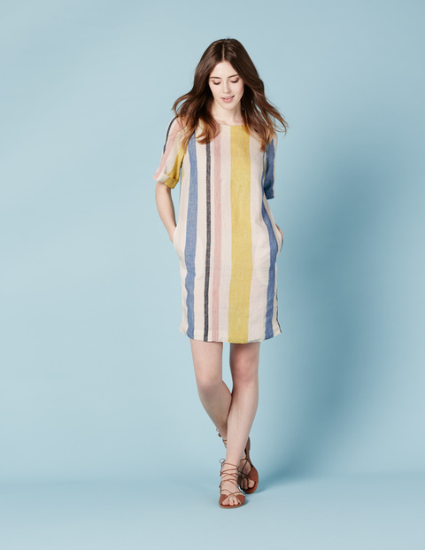 Easy Linen Tunic Dress Mimosa Yellow Multistripe Women, Mimosa Yellow Multistripe - style: shift; pattern: vertical stripes; predominant colour: ivory/cream; secondary colour: primrose yellow; occasions: casual; length: just above the knee; fit: body skimming; fibres: linen - 100%; neckline: crew; sleeve length: half sleeve; sleeve style: standard; texture group: linen; pattern type: fabric; multicoloured: multicoloured; season: s/s 2016