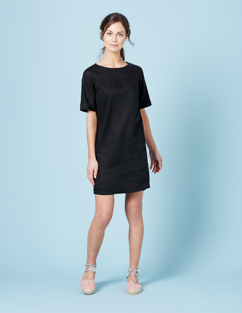 Easy Linen Tunic Dress Black Women, Black - style: shift; length: mid thigh; pattern: plain; predominant colour: black; occasions: evening; fit: body skimming; fibres: linen - 100%; neckline: crew; sleeve length: half sleeve; sleeve style: standard; pattern type: fabric; texture group: other - light to midweight; season: s/s 2016; wardrobe: event