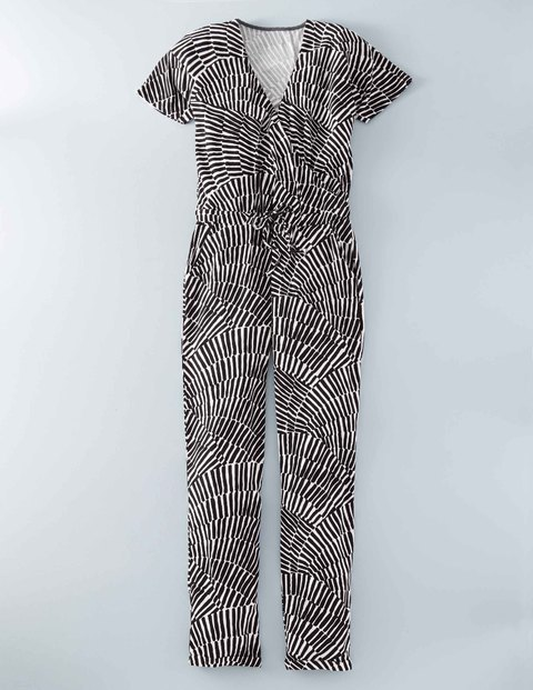 Jersey Jumpsuit Black Geo Swirl Women, Black Geo Swirl - length: standard; neckline: v-neck; secondary colour: white; predominant colour: black; occasions: casual; fit: body skimming; fibres: viscose/rayon - stretch; sleeve length: short sleeve; sleeve style: standard; style: jumpsuit; pattern type: fabric; pattern: patterned/print; texture group: jersey - stretchy/drapey; multicoloured: multicoloured; season: s/s 2016; wardrobe: highlight