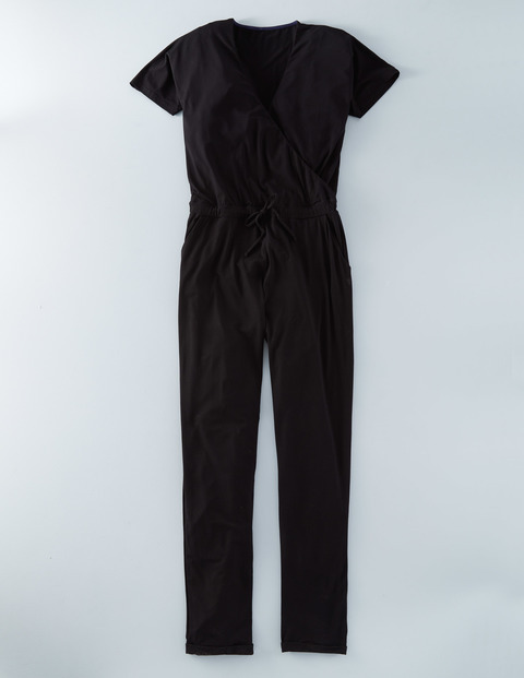 Jersey Jumpsuit Black Women, Black - length: standard; neckline: v-neck; pattern: plain; predominant colour: black; occasions: evening; fit: body skimming; fibres: viscose/rayon - stretch; sleeve length: short sleeve; sleeve style: standard; style: jumpsuit; pattern type: fabric; texture group: jersey - stretchy/drapey; season: s/s 2016