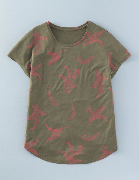 Pretty Printed Tee Khaki Mono Tropical Leaf Women, Khaki Mono Tropical Leaf - style: t-shirt; secondary colour: pink; predominant colour: khaki; occasions: casual; length: standard; fibres: viscose/rayon - 100%; fit: body skimming; neckline: crew; sleeve length: short sleeve; sleeve style: standard; pattern type: fabric; pattern size: standard; pattern: patterned/print; texture group: jersey - stretchy/drapey; multicoloured: multicoloured; season: s/s 2016; wardrobe: highlight