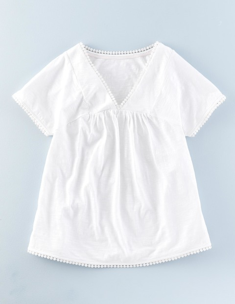 Pretty Trim Top White Women, White - neckline: v-neck; pattern: plain; predominant colour: white; occasions: casual; length: standard; style: top; fibres: cotton - 100%; fit: body skimming; sleeve length: short sleeve; sleeve style: standard; texture group: cotton feel fabrics; pattern type: fabric; season: s/s 2016