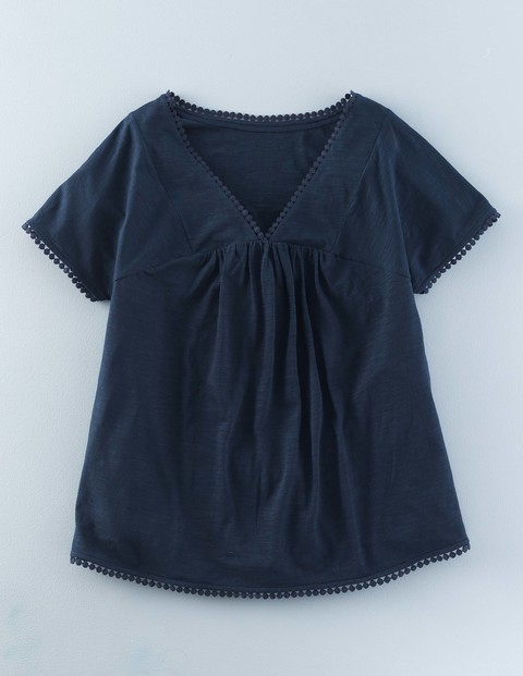 Pretty Trim Top Indigo Blue Women, Indigo Blue - neckline: v-neck; pattern: plain; predominant colour: navy; occasions: casual; length: standard; style: top; fibres: cotton - 100%; fit: body skimming; sleeve length: short sleeve; sleeve style: standard; pattern type: fabric; texture group: jersey - stretchy/drapey; season: s/s 2016; wardrobe: basic