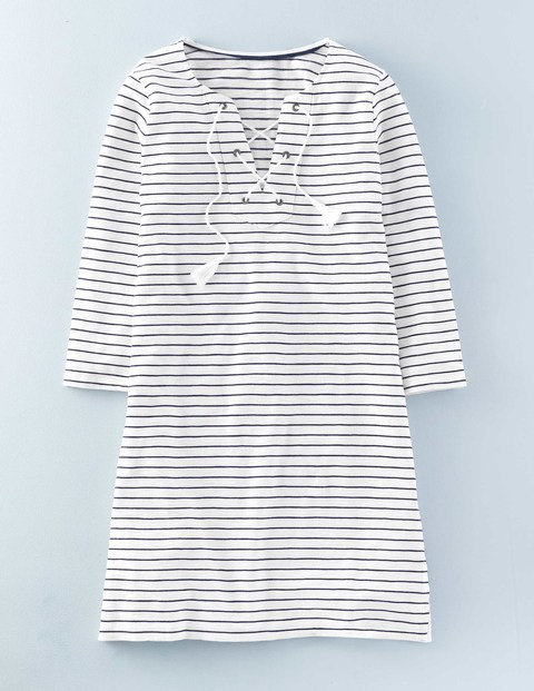Cross Tie Tunic Ivory/Navy Stripe Women, Ivory/Navy Stripe - neckline: v-neck; pattern: horizontal stripes; length: below the bottom; style: tunic; predominant colour: ivory/cream; secondary colour: navy; occasions: casual; fibres: cotton - 100%; fit: body skimming; sleeve length: 3/4 length; sleeve style: standard; pattern type: fabric; texture group: jersey - stretchy/drapey; multicoloured: multicoloured; season: s/s 2016; wardrobe: basic