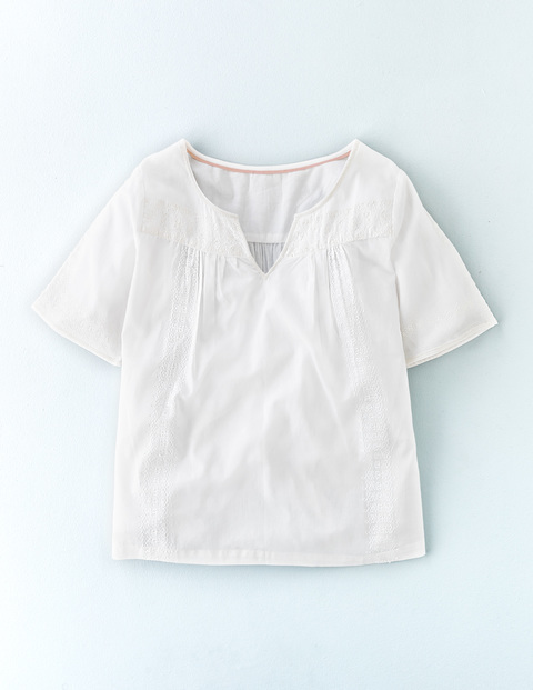 Alice Embroidered Top White W/ White Embroidery Women, White W/ White Embroidery - neckline: v-neck; pattern: plain; style: t-shirt; predominant colour: white; occasions: casual; length: standard; fibres: cotton - 100%; fit: body skimming; sleeve length: short sleeve; sleeve style: standard; pattern type: fabric; texture group: other - light to midweight; embellishment: embroidered; season: s/s 2016