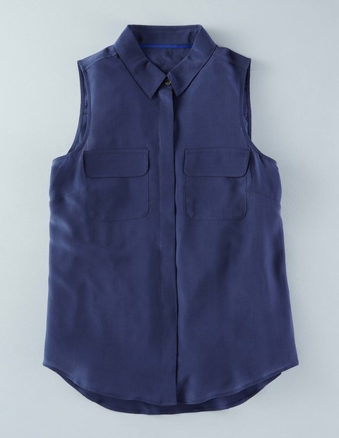 Sleeveless Silk Shirt Navy Women, Navy - neckline: shirt collar/peter pan/zip with opening; pattern: plain; sleeve style: sleeveless; style: shirt; predominant colour: navy; occasions: casual; length: standard; fibres: silk - 100%; fit: body skimming; sleeve length: sleeveless; texture group: cotton feel fabrics; pattern type: fabric; season: s/s 2016; wardrobe: basic