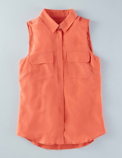 Sleeveless Silk Shirt Braid Women, Braid - neckline: shirt collar/peter pan/zip with opening; pattern: plain; sleeve style: sleeveless; style: shirt; predominant colour: coral; occasions: casual; length: standard; fibres: silk - 100%; fit: body skimming; sleeve length: sleeveless; texture group: cotton feel fabrics; pattern type: fabric; season: s/s 2016; wardrobe: highlight