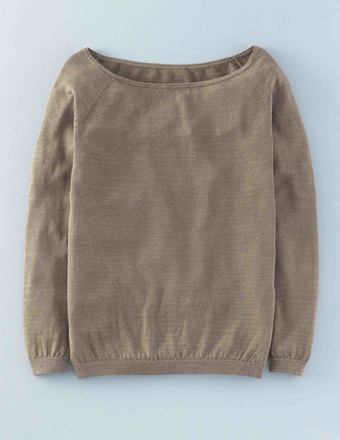 Belle Jumper Metallic Fawn Women, Metallic Fawn - neckline: slash/boat neckline; pattern: plain; style: standard; predominant colour: taupe; occasions: casual; length: standard; fibres: cotton - mix; fit: standard fit; sleeve length: long sleeve; sleeve style: standard; texture group: knits/crochet; pattern type: knitted - fine stitch; season: s/s 2016; wardrobe: basic