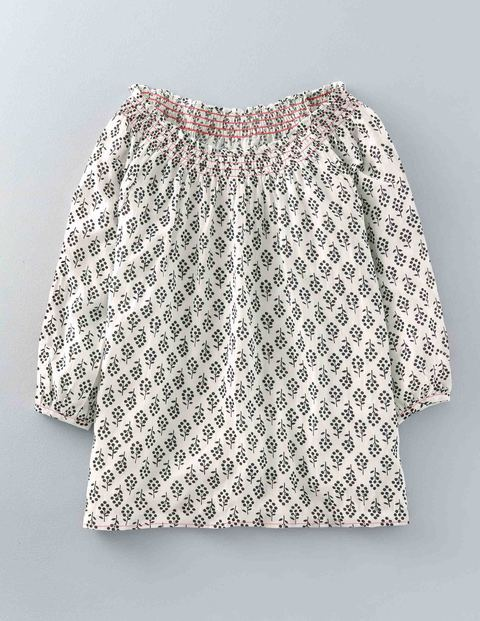 Bridget Top Ivory Trees Women, Ivory Trees - neckline: round neck; predominant colour: ivory/cream; secondary colour: mid grey; occasions: casual; length: standard; style: top; fit: body skimming; sleeve length: 3/4 length; sleeve style: standard; pattern type: fabric; pattern: patterned/print; texture group: jersey - stretchy/drapey; fibres: viscose/rayon - mix; multicoloured: multicoloured; season: s/s 2016; wardrobe: highlight