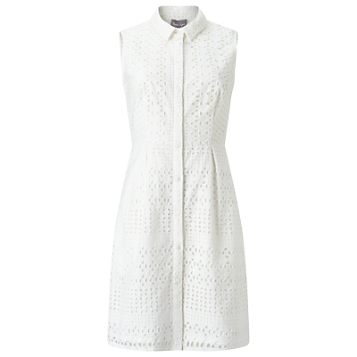 Tessa Broderie Shift Dress, White - style: shirt; length: mid thigh; neckline: shirt collar/peter pan/zip with opening; fit: tailored/fitted; sleeve style: sleeveless; predominant colour: white; occasions: casual, creative work; fibres: cotton - 100%; sleeve length: sleeveless; pattern type: fabric; pattern size: light/subtle; pattern: patterned/print; embellishment: embroidered; texture group: broiderie anglais; season: s/s 2016