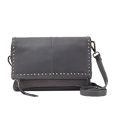Beya Stud Cross Body Handbag, Soft Grey - secondary colour: silver; predominant colour: mid grey; occasions: casual, creative work; type of pattern: standard; style: messenger; length: across body/long; size: standard; material: faux leather; embellishment: studs; pattern: plain; finish: plain; season: s/s 2016; wardrobe: highlight