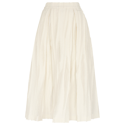 Textured Full Skirt, Ivory - length: below the knee; pattern: plain; style: full/prom skirt; fit: loose/voluminous; waist: high rise; predominant colour: ivory/cream; fibres: cotton - 100%; occasions: occasion; pattern type: fabric; texture group: woven bulky/heavy; season: s/s 2016; wardrobe: event