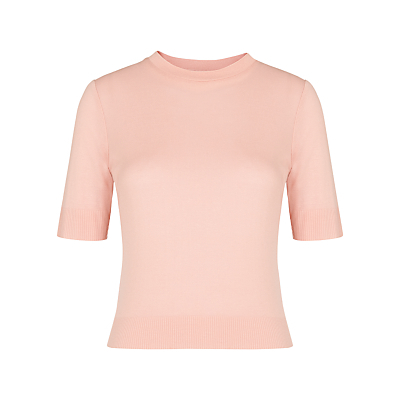 Rib Hem Slim T Shirt - pattern: plain; style: t-shirt; predominant colour: blush; occasions: casual, creative work; length: standard; fibres: viscose/rayon - 100%; fit: body skimming; neckline: crew; sleeve length: half sleeve; sleeve style: standard; pattern type: fabric; texture group: jersey - stretchy/drapey; season: s/s 2016; wardrobe: basic