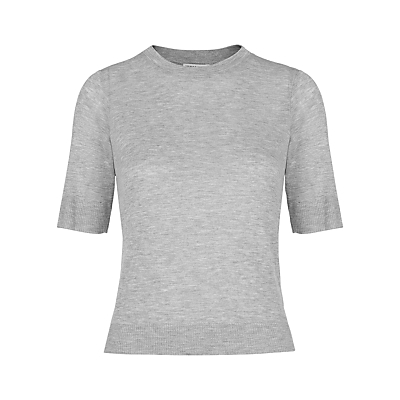 Rib Hem Slim T Shirt - pattern: plain; neckline: high neck; style: t-shirt; predominant colour: light grey; occasions: casual, creative work; length: standard; fibres: viscose/rayon - 100%; fit: body skimming; sleeve length: half sleeve; sleeve style: standard; pattern type: fabric; texture group: jersey - stretchy/drapey; season: s/s 2016; wardrobe: basic