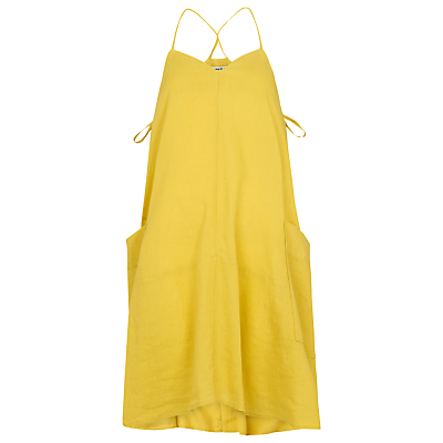 Marina Linen Swing Dress - length: mid thigh; neckline: v-neck; sleeve style: spaghetti straps; fit: loose; pattern: plain; style: sundress; predominant colour: yellow; fibres: linen - 100%; hip detail: subtle/flattering hip detail; sleeve length: sleeveless; texture group: linen; occasions: holiday; pattern type: fabric; season: s/s 2016; wardrobe: holiday