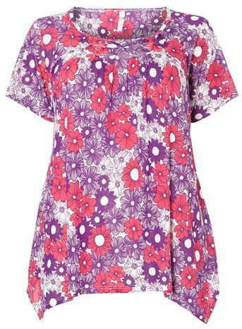 Pink Floral Print Top - neckline: round neck; length: below the bottom; style: t-shirt; predominant colour: hot pink; secondary colour: purple; occasions: casual; fibres: viscose/rayon - 100%; fit: loose; sleeve length: short sleeve; sleeve style: standard; pattern type: fabric; pattern size: standard; pattern: florals; texture group: jersey - stretchy/drapey; multicoloured: multicoloured; season: s/s 2016