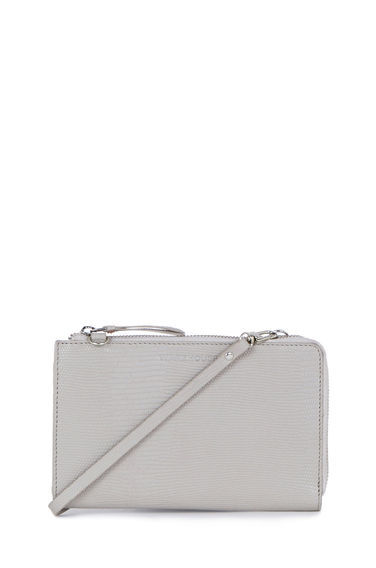 Leather Crossbody Wallet - predominant colour: mid grey; occasions: casual, creative work; type of pattern: standard; style: shoulder; length: across body/long; size: small; material: leather; pattern: plain; finish: plain; season: s/s 2016; wardrobe: investment