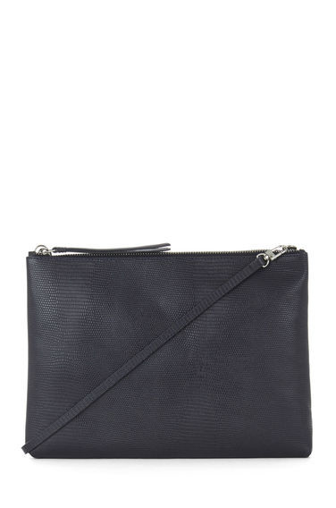 Leather Textured Clutch Bag - predominant colour: black; occasions: casual, creative work; type of pattern: standard; style: shoulder; length: shoulder (tucks under arm); size: standard; material: leather; pattern: plain; finish: plain; season: s/s 2016; wardrobe: investment