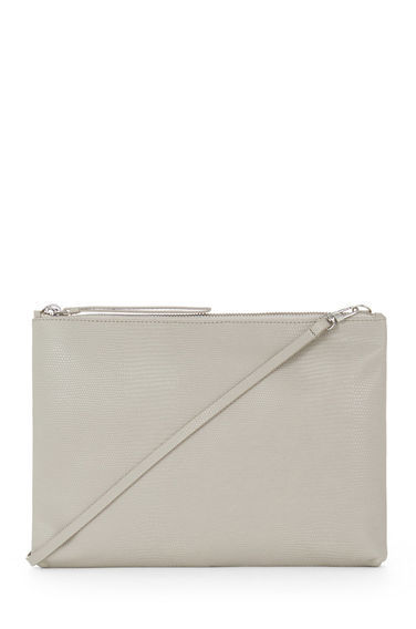Leather Textured Clutch Bag - predominant colour: stone; occasions: casual, creative work; type of pattern: standard; style: shoulder; length: across body/long; size: standard; material: leather; pattern: plain; finish: plain; season: s/s 2016; wardrobe: investment