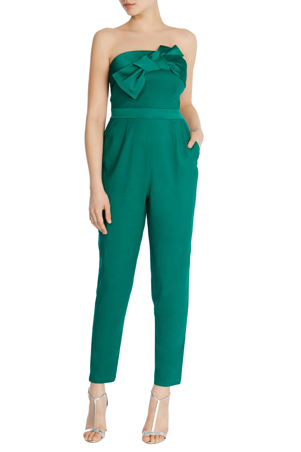 Delta Bandeau Jumpsuit - length: standard; neckline: strapless (straight/sweetheart); fit: tailored/fitted; pattern: plain; sleeve style: strapless; predominant colour: emerald green; occasions: evening; fibres: polyester/polyamide - stretch; sleeve length: sleeveless; style: jumpsuit; pattern type: fabric; texture group: other - light to midweight; embellishment: bow; season: s/s 2016; wardrobe: event; embellishment location: bust