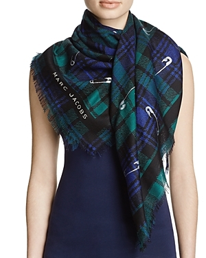Plaid Safety Pin Stole Scarf - secondary colour: navy; predominant colour: dark green; occasions: casual, creative work; type of pattern: standard; style: regular; size: standard; material: fabric; pattern: checked/gingham; multicoloured: multicoloured; season: s/s 2016; wardrobe: highlight