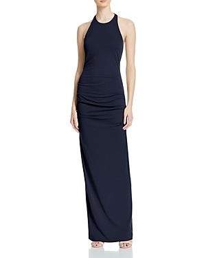 Adel Matte Jersey Gown - fit: tight; pattern: plain; sleeve style: sleeveless; style: bodycon; length: ankle length; predominant colour: black; occasions: evening; fibres: polyester/polyamide - stretch; sleeve length: sleeveless; texture group: jersey - clingy; pattern type: fabric; season: s/s 2016; neckline: high halter neck; wardrobe: event
