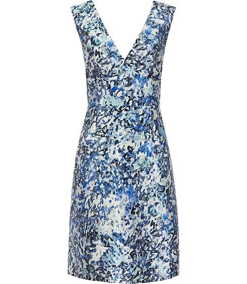 Allium Printed Dress - style: shift; neckline: v-neck; fit: tailored/fitted; sleeve style: sleeveless; secondary colour: royal blue; predominant colour: pale blue; occasions: evening; length: just above the knee; fibres: polyester/polyamide - mix; sleeve length: sleeveless; pattern type: fabric; pattern: florals; texture group: other - light to midweight; multicoloured: multicoloured; season: s/s 2016; wardrobe: event