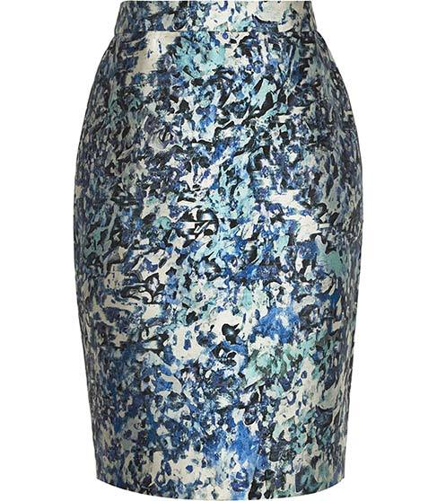 Mattea Jacquard Pencil Skirt - style: pencil; fit: tailored/fitted; waist: high rise; predominant colour: pale blue; secondary colour: black; length: just above the knee; fibres: polyester/polyamide - mix; occasions: occasion; pattern type: fabric; pattern: patterned/print; texture group: brocade/jacquard; pattern size: big & busy (bottom); season: s/s 2016; wardrobe: event