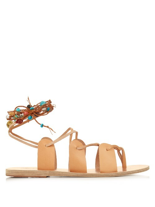Amaryllis Stones Leather Sandals - predominant colour: nude; occasions: casual, holiday; material: leather; heel height: flat; ankle detail: ankle tie; heel: standard; toe: open toe/peeptoe; style: gladiators; finish: plain; pattern: plain; season: s/s 2016; wardrobe: basic
