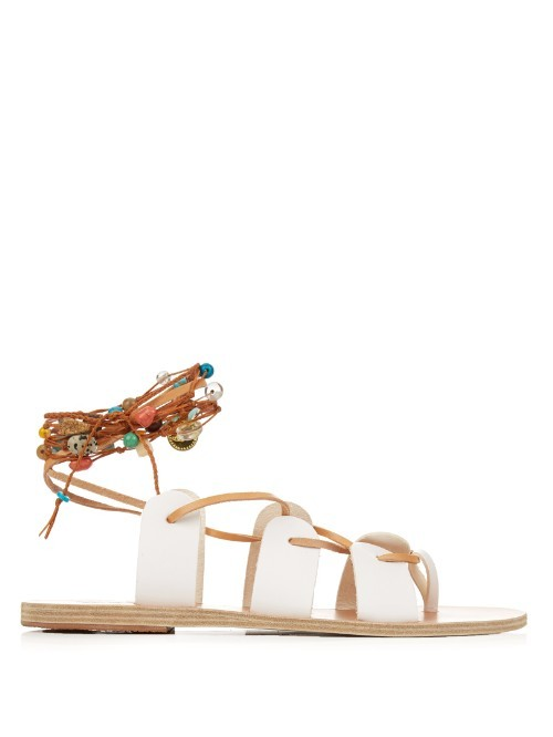 Amaryllis Stones Leather Sandals - predominant colour: white; secondary colour: tan; occasions: casual, holiday; material: leather; heel height: flat; ankle detail: ankle tie; heel: standard; toe: open toe/peeptoe; style: gladiators; finish: plain; pattern: plain; season: s/s 2016; wardrobe: basic