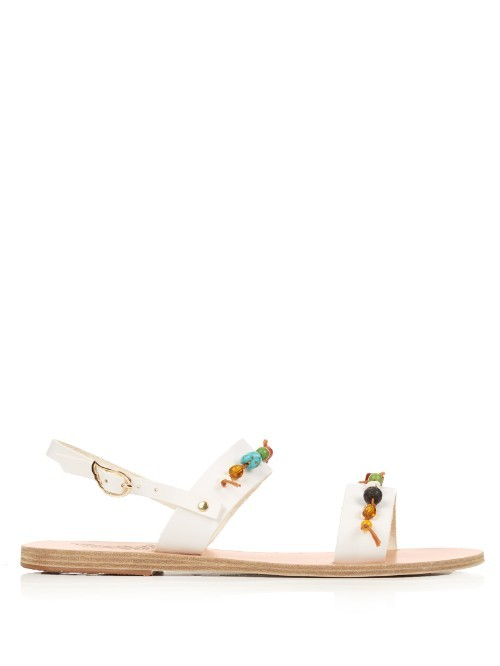 Clio Leather Sandals - predominant colour: white; secondary colour: turquoise; occasions: casual, holiday; material: leather; heel height: flat; embellishment: beading; heel: block; toe: open toe/peeptoe; style: strappy; finish: plain; pattern: plain; season: s/s 2016