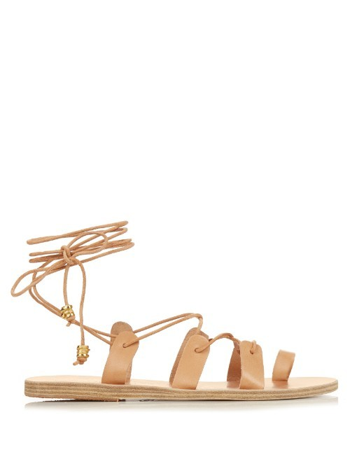 X Ilias Lalaounis Alcyone Leather Sandals - predominant colour: camel; occasions: casual, holiday; material: leather; heel height: flat; ankle detail: ankle tie; heel: block; toe: open toe/peeptoe; style: strappy; finish: plain; pattern: plain; season: s/s 2016; wardrobe: basic