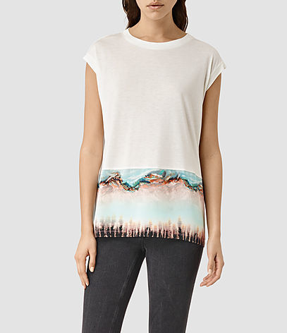 Crystal Brooke Tee - sleeve style: capped; style: t-shirt; predominant colour: white; secondary colour: blush; occasions: casual; length: standard; fibres: viscose/rayon - 100%; fit: body skimming; neckline: crew; sleeve length: short sleeve; pattern type: fabric; pattern: patterned/print; texture group: jersey - stretchy/drapey; multicoloured: multicoloured; season: s/s 2016; wardrobe: highlight