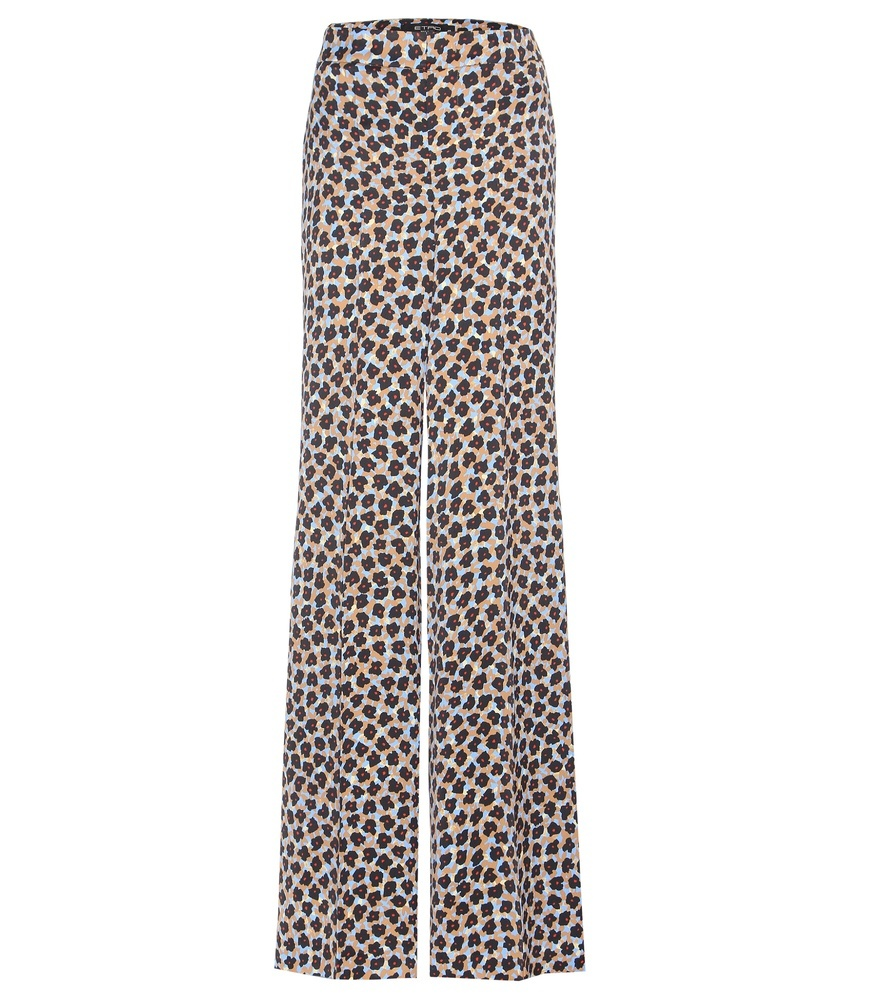 Printed Wide Leg Trousers - length: standard; style: palazzo; waist: mid/regular rise; secondary colour: stone; predominant colour: black; fibres: cotton - mix; fit: wide leg; pattern type: fabric; pattern: animal print; texture group: other - light to midweight; occasions: creative work; pattern size: big & busy (bottom); multicoloured: multicoloured; season: s/s 2016; wardrobe: highlight