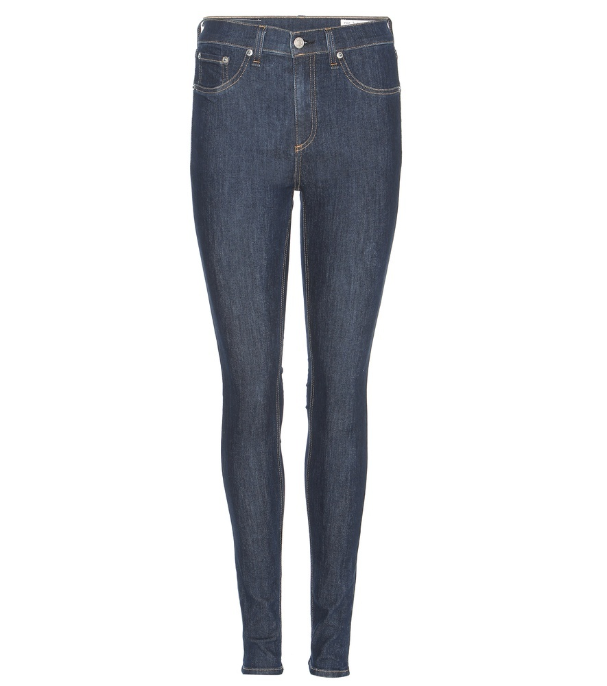 10 Inch Skinny High Rise Jeans - style: skinny leg; length: standard; pattern: plain; pocket detail: traditional 5 pocket; waist: mid/regular rise; predominant colour: denim; occasions: casual; fibres: cotton - stretch; jeans detail: dark wash; texture group: denim; pattern type: fabric; season: s/s 2016; wardrobe: basic