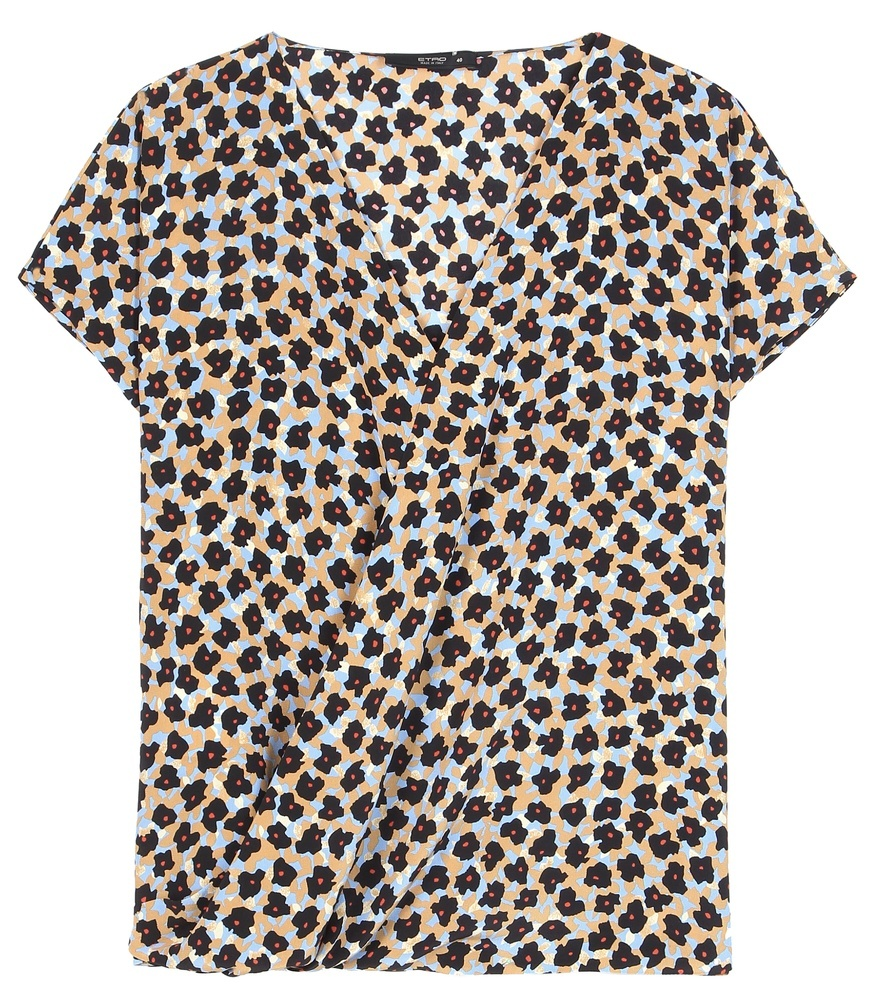 Printed Silk Blouse - neckline: v-neck; sleeve style: capped; secondary colour: mustard; predominant colour: black; occasions: casual, creative work; length: standard; style: top; fibres: silk - 100%; fit: body skimming; sleeve length: short sleeve; texture group: silky - light; pattern type: fabric; pattern size: standard; pattern: patterned/print; season: s/s 2016; wardrobe: highlight