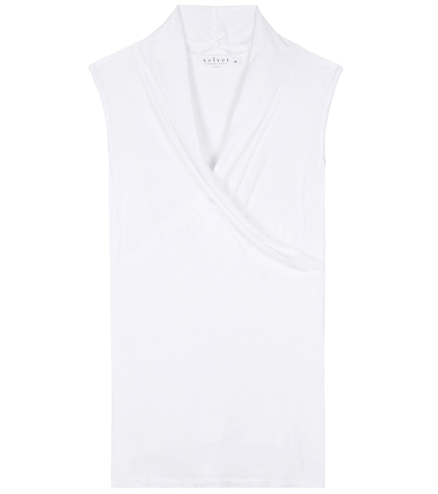 Adelise Top - neckline: v-neck; pattern: plain; sleeve style: sleeveless; style: blouse; predominant colour: white; occasions: casual; length: standard; fibres: polyester/polyamide - 100%; fit: body skimming; sleeve length: sleeveless; pattern type: fabric; texture group: other - light to midweight; season: s/s 2016; wardrobe: basic