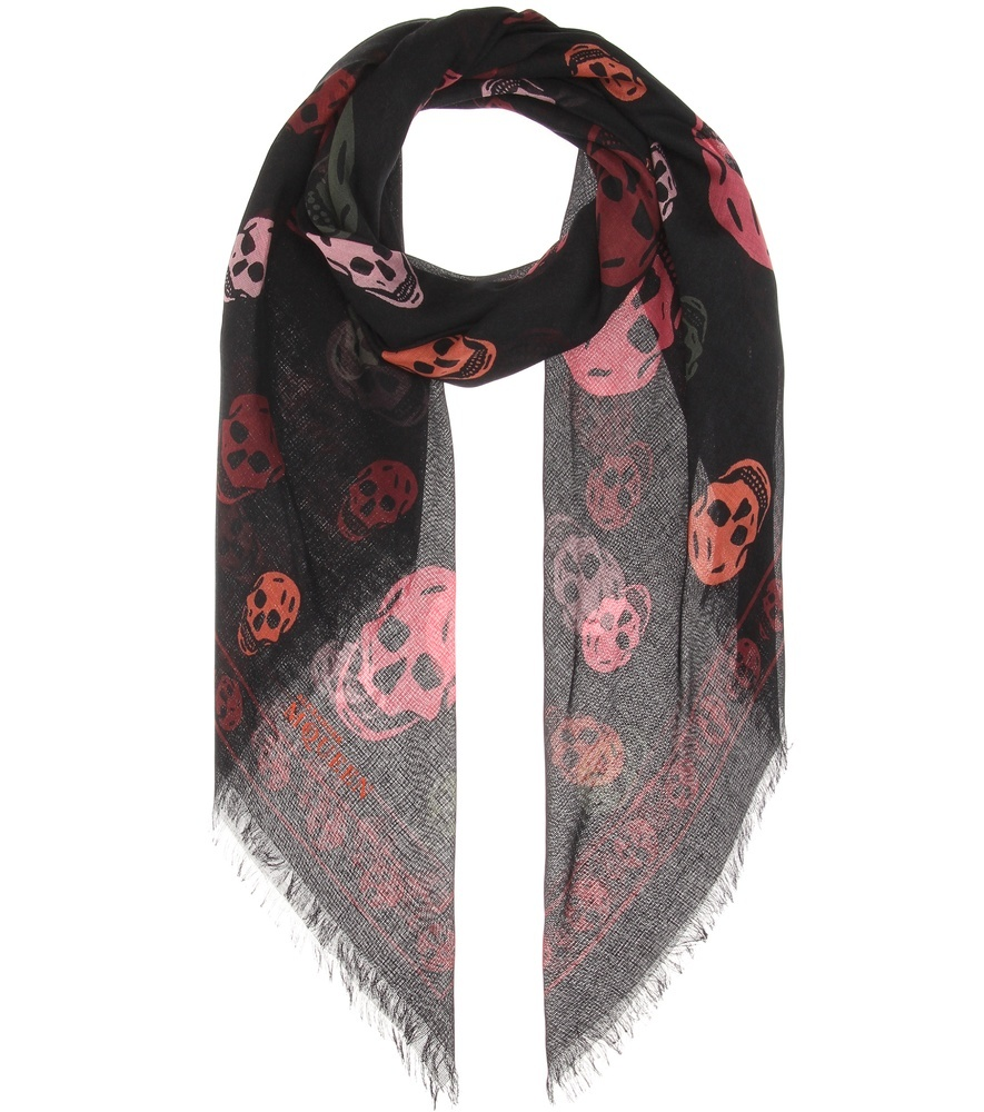 Printed Silk Blend Scarf - secondary colour: burgundy; predominant colour: black; occasions: casual, creative work; type of pattern: standard; style: square; size: standard; material: fabric; pattern: patterned/print; multicoloured: multicoloured; season: s/s 2016; wardrobe: highlight