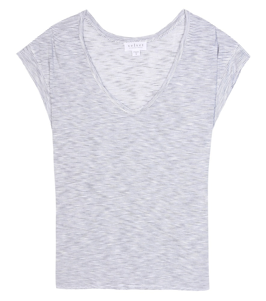 Hannah Striped T Shirt - neckline: v-neck; sleeve style: capped; style: t-shirt; predominant colour: light grey; occasions: casual; length: standard; fibres: viscose/rayon - 100%; fit: body skimming; sleeve length: short sleeve; pattern type: fabric; pattern size: light/subtle; pattern: patterned/print; texture group: jersey - stretchy/drapey; season: s/s 2016; wardrobe: highlight