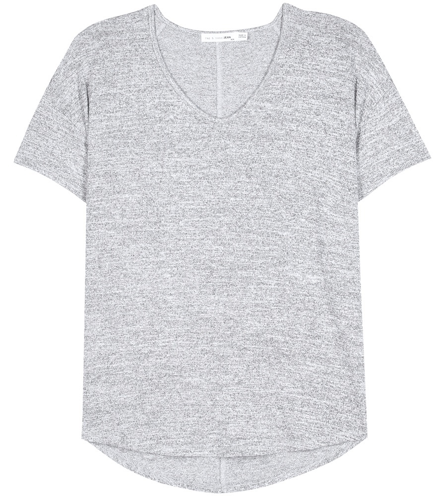 Melrose T Shirt - neckline: v-neck; pattern: plain; style: t-shirt; predominant colour: light grey; occasions: casual; length: standard; fibres: viscose/rayon - stretch; fit: straight cut; back detail: longer hem at back than at front; sleeve length: short sleeve; sleeve style: standard; pattern type: fabric; texture group: jersey - stretchy/drapey; season: s/s 2016; wardrobe: basic