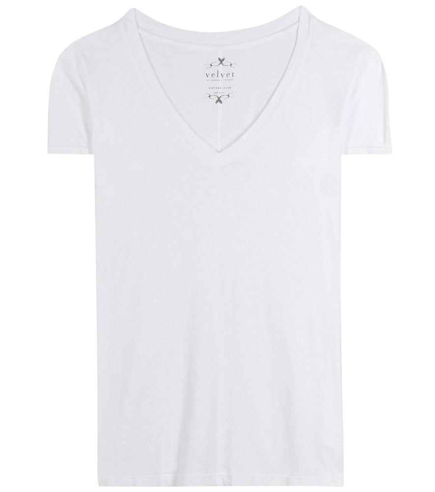 Cotton T Shirt - neckline: low v-neck; pattern: plain; length: below the bottom; style: t-shirt; predominant colour: white; occasions: casual; fibres: cotton - stretch; fit: body skimming; sleeve length: short sleeve; sleeve style: standard; pattern type: fabric; texture group: jersey - stretchy/drapey; season: s/s 2016; wardrobe: basic