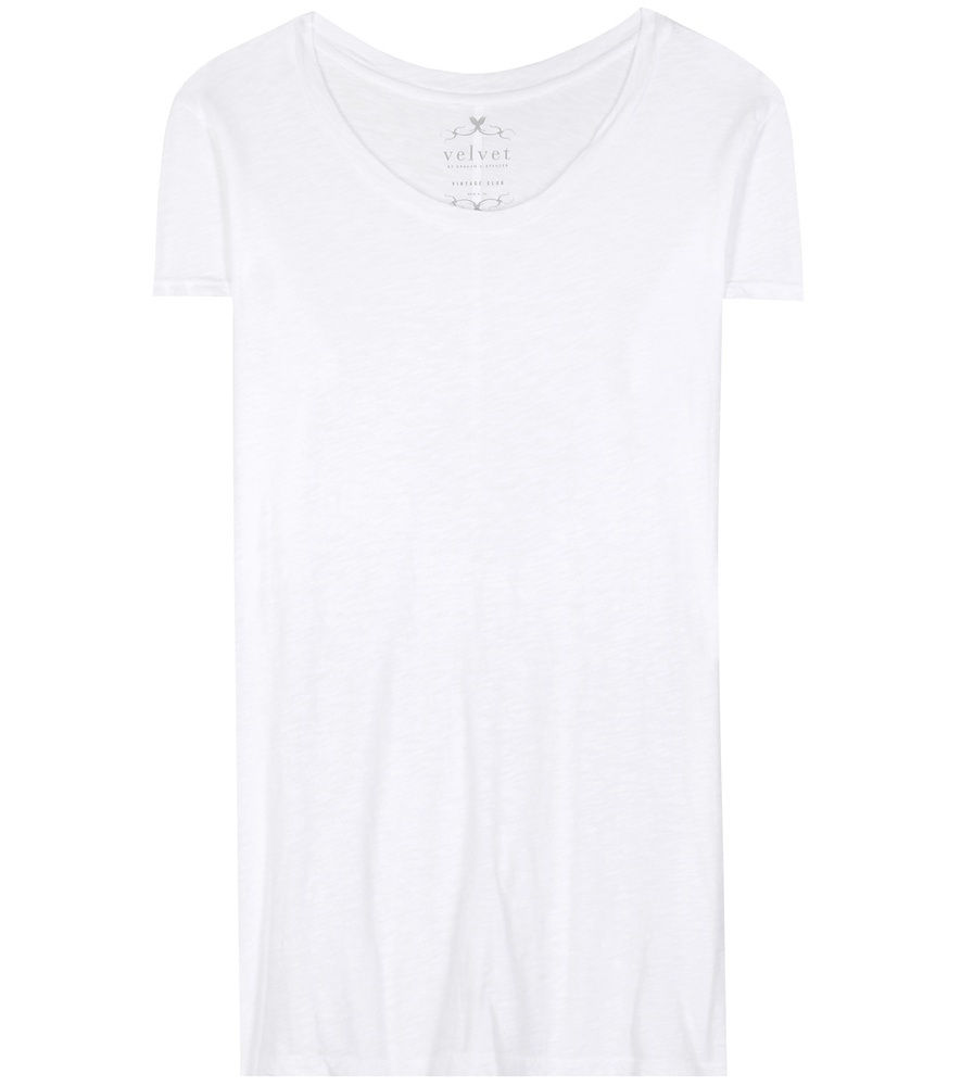 Odelia Cotton T Shirt - neckline: round neck; pattern: plain; length: below the bottom; style: t-shirt; predominant colour: white; occasions: casual; fibres: cotton - 100%; fit: body skimming; sleeve length: short sleeve; sleeve style: standard; pattern type: fabric; texture group: other - light to midweight; season: s/s 2016; wardrobe: basic