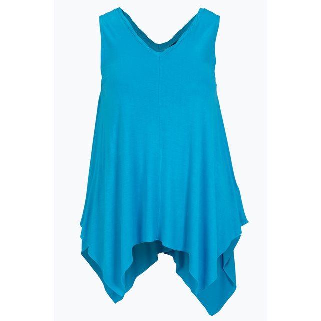 Sleeveless Top - neckline: v-neck; pattern: plain; sleeve style: sleeveless; length: below the bottom; predominant colour: diva blue; occasions: casual, creative work; style: top; fibres: viscose/rayon - 100%; fit: loose; hip detail: dip hem; sleeve length: sleeveless; pattern type: fabric; texture group: jersey - stretchy/drapey; season: s/s 2016