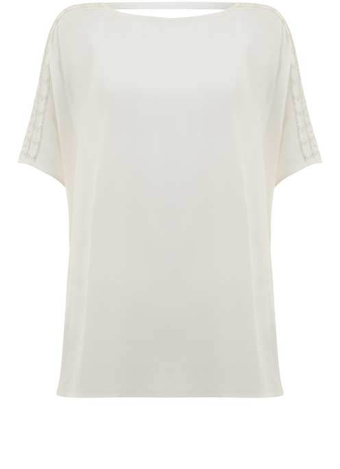 Ivory Beaded Shoulder Tee - neckline: slash/boat neckline; pattern: plain; style: t-shirt; predominant colour: ivory/cream; occasions: casual, creative work; length: standard; fibres: cotton - stretch; fit: loose; sleeve length: short sleeve; sleeve style: standard; pattern type: fabric; texture group: jersey - stretchy/drapey; embellishment: beading; season: s/s 2016; wardrobe: highlight