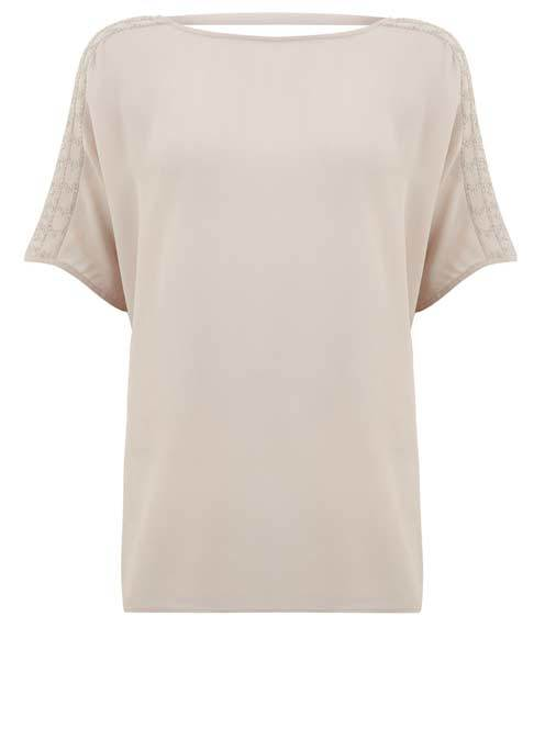 Shell Beaded Shoulder Tee - neckline: slash/boat neckline; pattern: plain; predominant colour: stone; occasions: casual; length: standard; style: top; fibres: viscose/rayon - 100%; fit: body skimming; shoulder detail: added shoulder detail; sleeve length: short sleeve; sleeve style: standard; pattern type: fabric; texture group: jersey - stretchy/drapey; embellishment: beading; season: s/s 2016