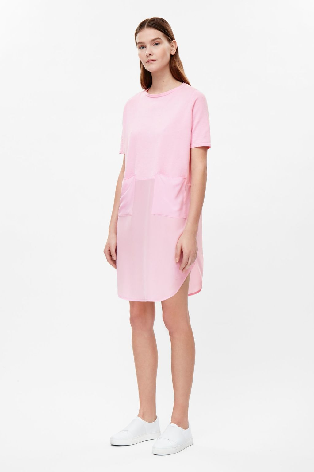 Oversized Dress With Silk Skirt - style: shift; pattern: plain; predominant colour: pink; occasions: evening; length: just above the knee; fit: body skimming; fibres: cotton - 100%; neckline: crew; sleeve length: long sleeve; sleeve style: standard; pattern type: fabric; texture group: other - light to midweight; season: s/s 2016; wardrobe: event