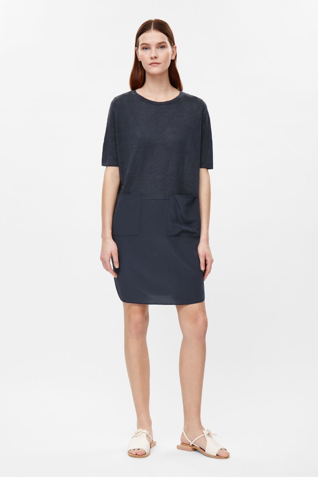 Oversized Dress With Silk Skirt - style: shift; neckline: round neck; pattern: plain; predominant colour: navy; occasions: casual; length: just above the knee; fit: body skimming; fibres: cotton - mix; sleeve length: short sleeve; sleeve style: standard; pattern type: fabric; texture group: other - light to midweight; season: s/s 2016; wardrobe: basic