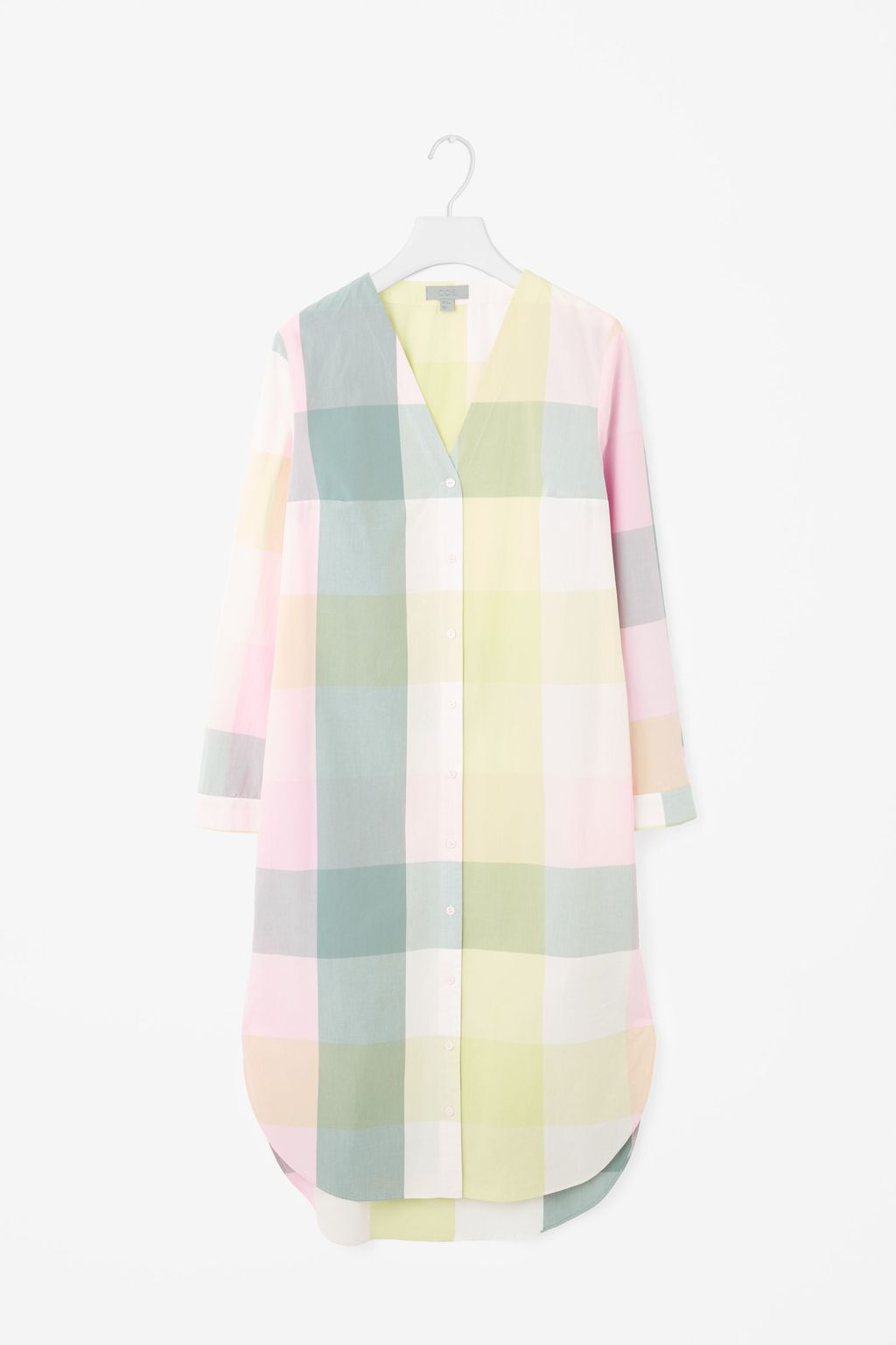 V Neck Checked Shirt Dress - style: tunic; neckline: v-neck; pattern: checked/gingham; predominant colour: blush; secondary colour: primrose yellow; length: just above the knee; fit: body skimming; fibres: cotton - 100%; sleeve length: long sleeve; sleeve style: standard; occasions: holiday; pattern type: fabric; texture group: other - light to midweight; multicoloured: multicoloured; season: s/s 2016
